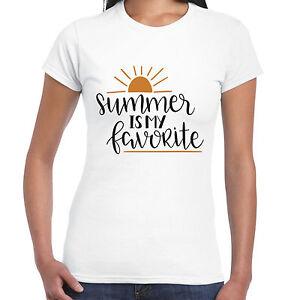 ESTATE-E-My-Favorite-Ladies-T-Shirt-REGALO-DIVERTENTE-SOLE-SPIAGGIA-DI