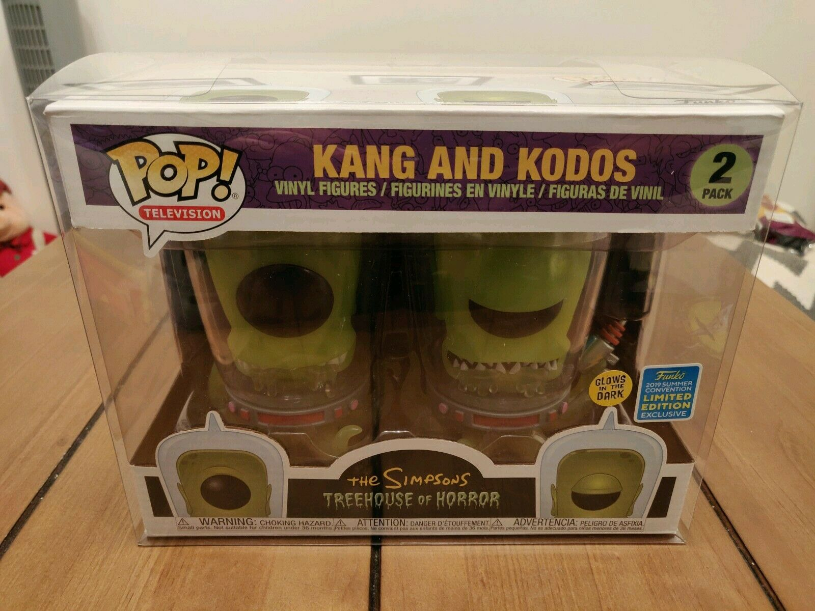 Funko Pop The Simpsons Kang And Kodos GITD 2 Pack SDCC + 2 Pack Protector