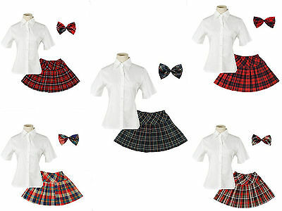 Japan School Uniform Girls Dress Short Sleeve Suit Shirt With Pleated Skirt+Bow