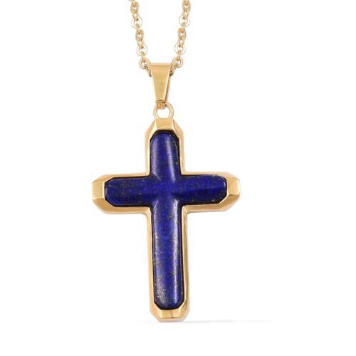 Lapis Lazuli Cross Religious Chain Pendant Necklace for Women 20 Goldtone Ct 5