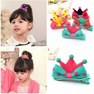 5X-Kids-Girls-Crown-Style-Hairpin-Hair-Clips-Princess-Barrette-Random-Color-New
