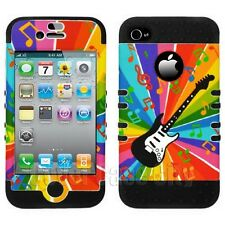 For Apple iPhone 4 4S Colorful Guitar Music Notes on Black Impact Case Cover