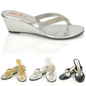 Ladies-Womens-Wedge-Heel-Diamante-Toe-Post-Sparkly-Dressy-Party-Sandals-Size-3-8