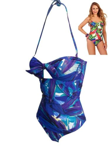 Swimwear Bandeau Strapless Padded New Ladies Jungle Print Halterneck Swimsuit