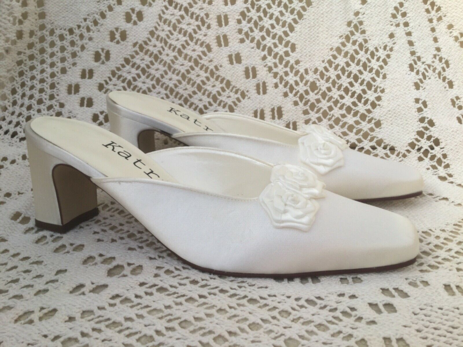 Wedding bridal shoes size 3.5 off white / cream satin with 2 inch heel