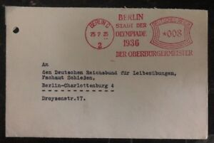 1935 Berlin Germany Olympics Tickets Meter Cancel Cover To Domestic Used