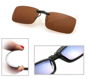 Brown-Polarized-Clip-On-Driving-Glasses-Sunglasses-Day-Vision-Shades-UV400-Lens