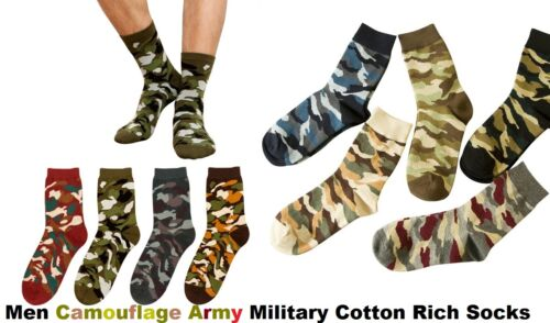 12 Pairs Men Camouflage Army Military Soft Cotton Designer Rich Socks Size 6-11