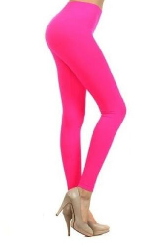 New Girls Ladies Womens Gymnastic Neon Colour Plain Leggings Pants Dance Wear