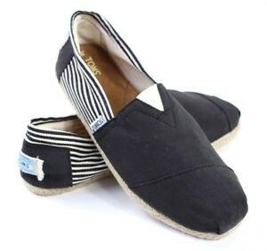 dirt cheap exclusive shoes recognized brands Details about Toms Mens Size 11 Classic Slip On Black and White Canvas  Striped and Solid New