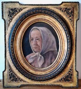 Huile-sur-toile-Portrait-de-tres-bonne-facture-et-cadre-19eme