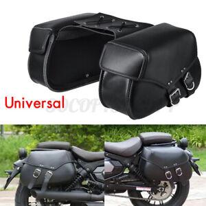 2x Universal Motorcycle Side Saddle Bags Pannier Luggage Storage Saddlebags Us
