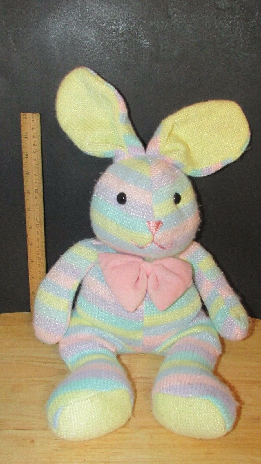 COMMONWEALTH toys Bunny Rabbit Plush pastel striped sweater bow knit w pink bow sweater 1ed3a5
