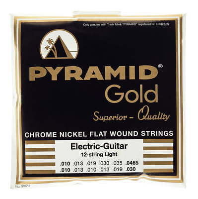 pyramid gold flatwound 12 string 10 46 5 guitar strings flat wound set pack 4018097310120 ebay. Black Bedroom Furniture Sets. Home Design Ideas