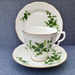ROYAL-VALE-TRIO-SET-CUP-SAUCER-PLATE-GREEN-IVY-c1960s-GILDED-BONE-CHINA
