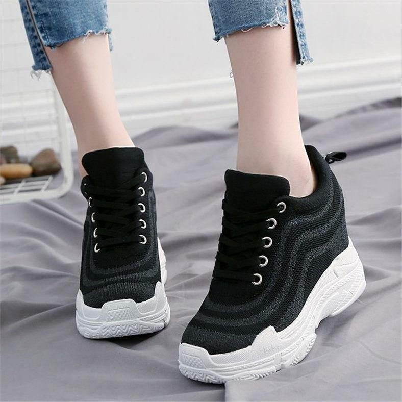 Women Platform Wedge Fashion Sneaker Sport Lace Up Ankle Boots High Heel Creeper
