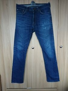 Marks-And-Spencer-Mens-Blue-Washed-Ripped-Slim-Relaxed-Fit-Jeans-Size-W32-L33