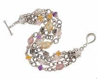 Retired Michael Dawkins Sterling 925 Multi Row Pearl Gemstone 8 Bracelet