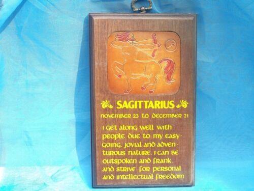 Hautement polis plaque en bois-cuir ins-saggitarius-ZODIAC BNIB-RRP 9,99