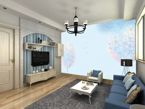 3D Blau Tree Pattern 89 Wallpaper Mural Paper Wall Print Wallpaper Murals UK
