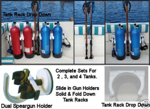 Scuba Speargun Holder Dive Boat Rack Spear Gun Tank Suction Cup