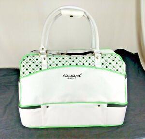 20eb9740a0f1f2 Cleveland Golf Ladies Gym Bag Tote Duffel White & Mint Green Zip ...