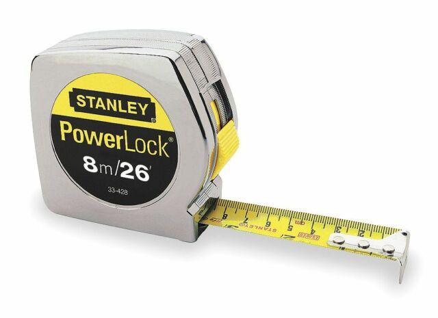 Stanley  PowerLock  26 ft L x 1 in W Tape Measure  Silver  1 pk
