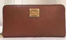 NWT Ralph Lauren tan brown textured leather sloan women zip around wallet $128