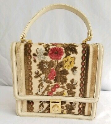 Needlepoint Embroidery Purse, Velvet Flower Bag Vintage Tano of Madrid Rose Floral Tapestry Top Handle Bag with Brown Leather Details
