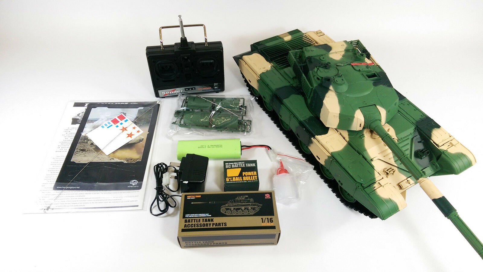 Heng Long 1 16 BB ZTZ 99 RC Battle Tank Shoot Smoke Engine Sound 360 redation