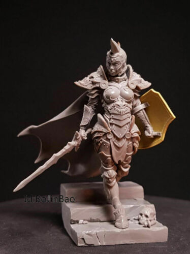 1//24 75mm Model Kits Fantasy Female Swordman Unpainted Resin Figurine Garage Kit
