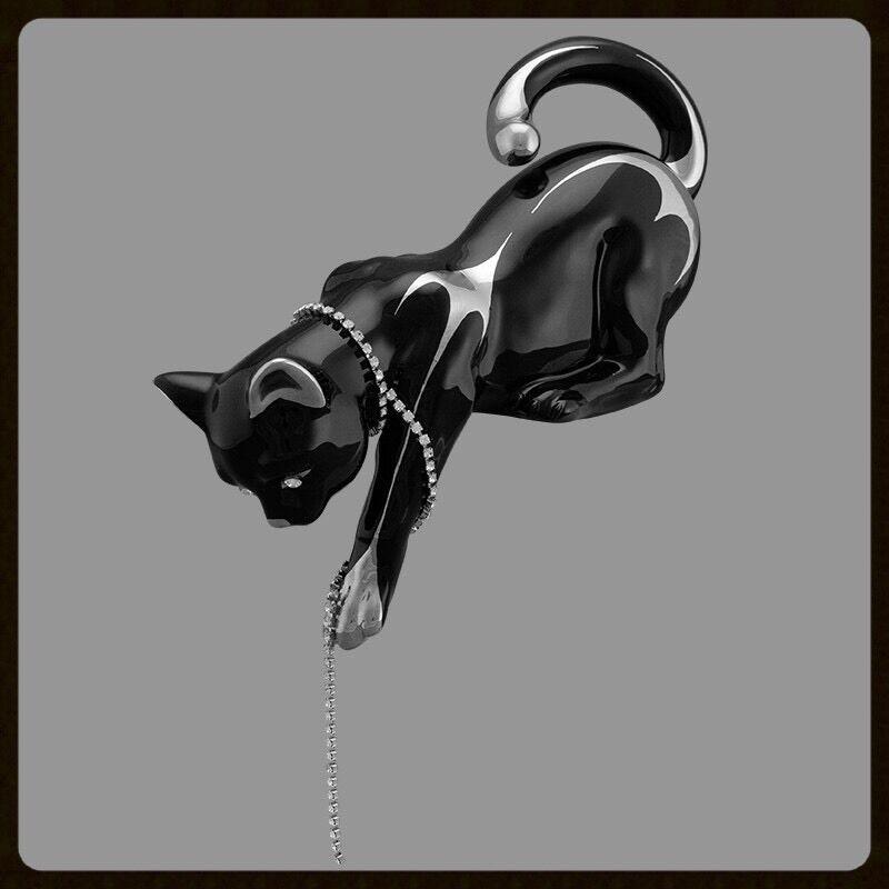 28x15x15cm Keramik Porzcellan Katze Cat Kitty Playing - Swarovski - Platin