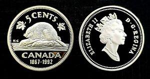 Canada-1867-1992-Proof-Gem-UNC-Five-Cent-Nickel