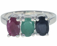 Ruby Emerald Sapphire Gemstone Sterling Silver Ring size O