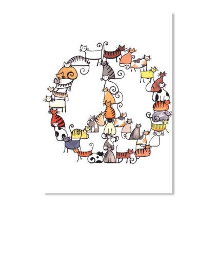 Details about  /Cat-peace Sticker Portrait
