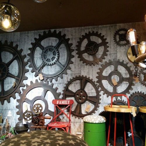 Vintage Industrial Steampunk Wooden Gear Wall Hanging Bar Cafe Pub Wall Decor US