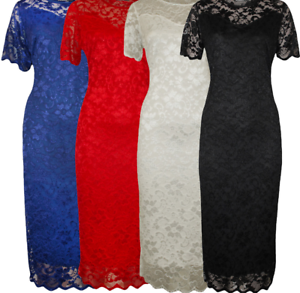 Women-039-s-Ladies-Plus-Size-Short-Sleeve-Floral-Lace-Lined-Midi-Bodycon-Party-Dress