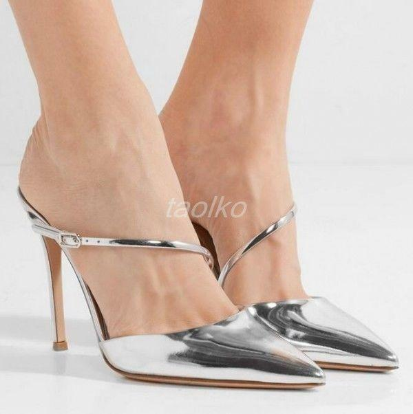 Womens Mule Heel Stiletto Slippers Sandals Patent Leather Pointy Toe Party shoes