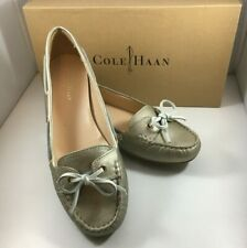 Cole Haan Tali Gold Leather Boat Shoes
