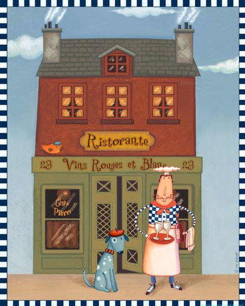 Viv Eisner  Chef 8 Ristorante Keilrahmen-Bild Leinwand Laden Nostalgie Küche