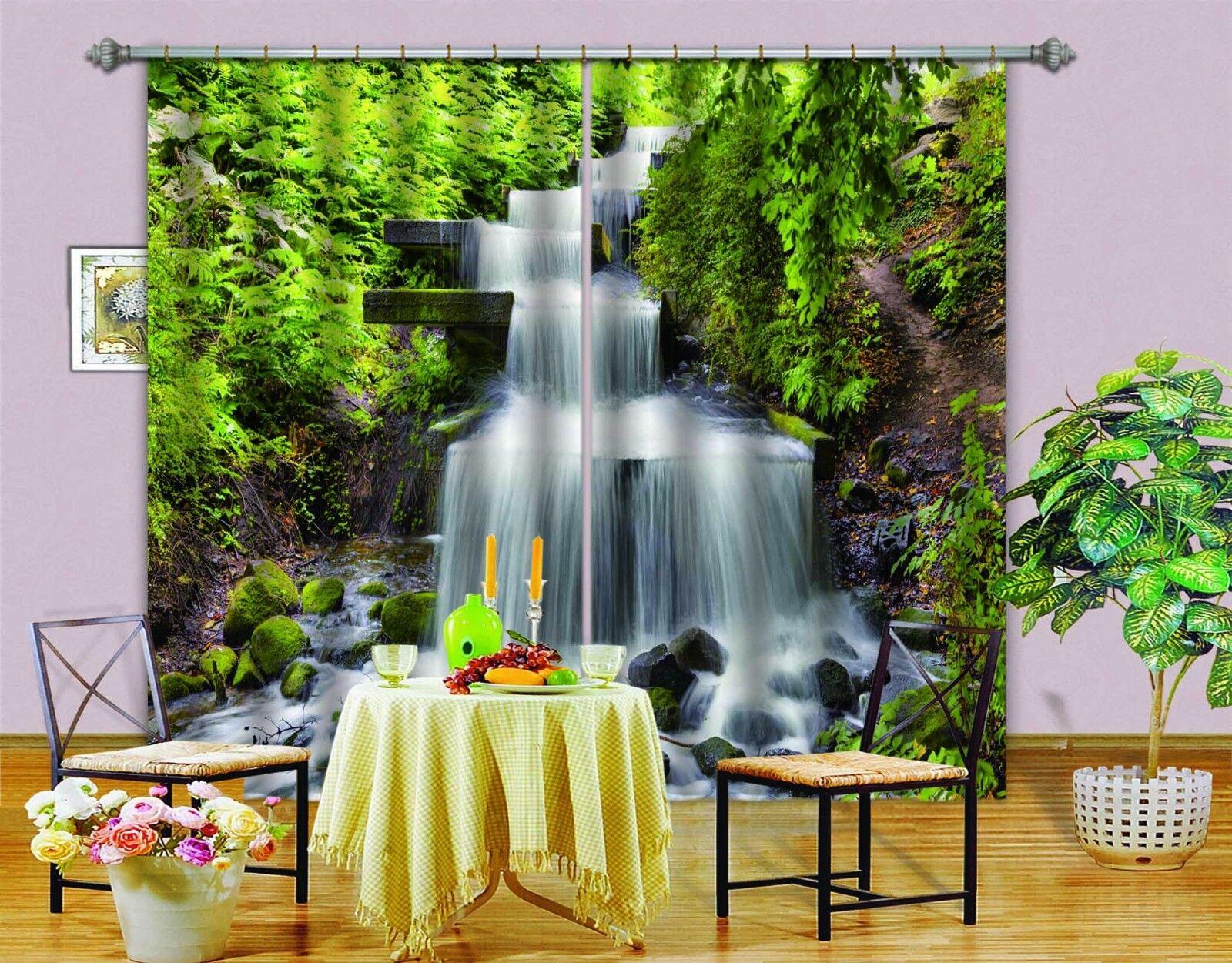 Hierba de río 3D 0399 Cortinas de impresión de cortina de foto Blockout Tela Cortinas Ventana Reino Unido