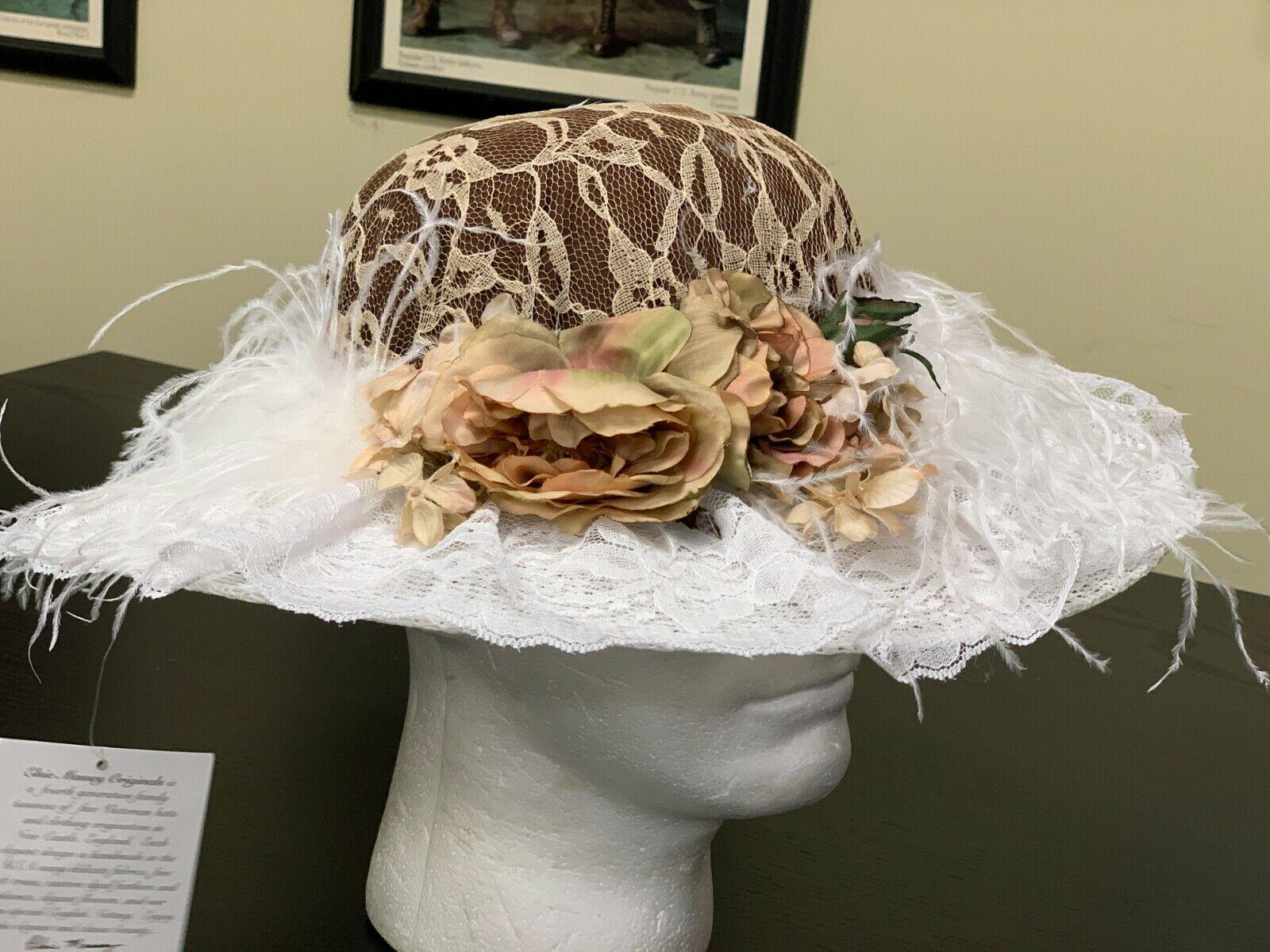 Beige-White Feather Ladies Touring Hat - Victorian Western, Edwardian, Steampunk