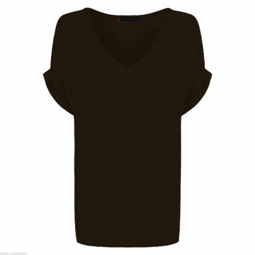 New Ladies Batwing Sleeve Baggy Oversize/'s Loose Fit Turn up V Neck T-Shirt Tops