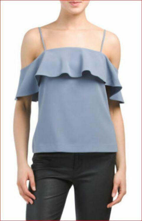 Neu Theory Damen Top Blause Hemd Ayleen H0309528 Brisk Blau Grau 4 Msrp