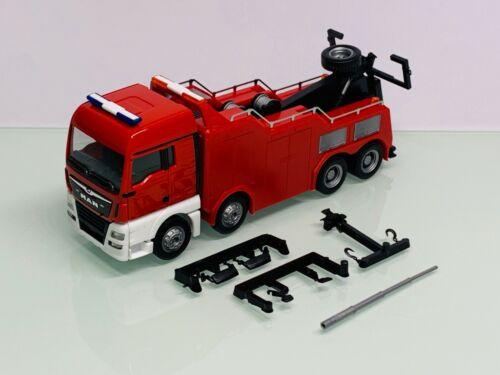 Herpa Feuerwehr MAN TGX XLX EMPL Bison Lkw Bergefahrzeug Abschlepper 4-achs rot