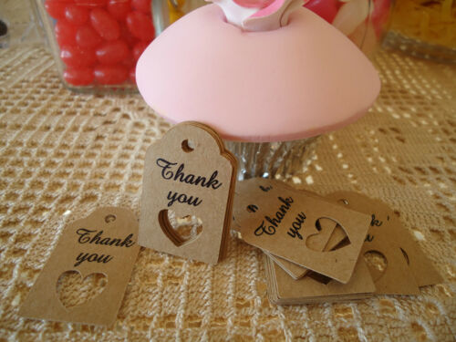 10 Kraft Brown Gift Swing Tags Wedding Favour Mini Heart Bomboniere Thank you