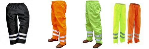 Impermeable a prueba de viento Hi Alta VIS visabilty Pantalones De Trabajo Azul Marino Amarillo Naranja Nuevo