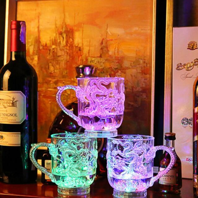 7 Color LED Dragon Light Flashing Beer Mug Drink Cup Bar Party Wedding Clubs
