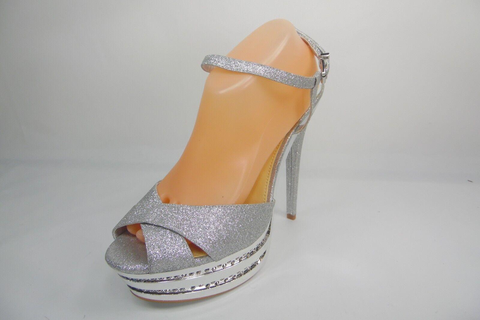 Gianni Bini Platform Heels Strap Sandals Silver Size 11M