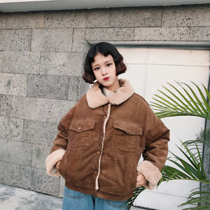 DONNA-PELLICCIA-FINTA-invernale-Giacca-Corduroy-OVERSIZE-GIACCA-CASUAL-VINTAGE